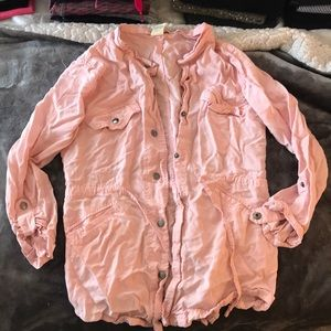 Blush pink cinch waist jacket